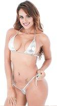 Spannende Micro Bikini Met String En Bikini Topje – Metallic Zilver 18+