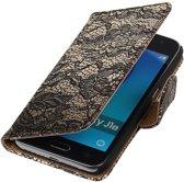 Zwart Lace booktype cover hoesje voor Samsung Galaxy J1 Nxt / J1 Mini