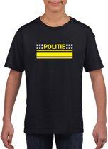 Politie logo zwart t-shirt voor jongens en meisjes - Agent verkleedkleding L (146-152)