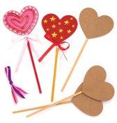 Baker Ross Magische houten toverstokjes met hart (6 stuks per verpakking) Voor kinderen, om naar eigen smaak te versieren en te gebruiken tijdens een verkleedpartijtje