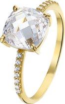 The Jewelry Collection Ring Kwarts En Zirkonia - Geelgoud