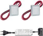 LED onderbouwverlichting keuken Kalmar - keukenverlichting / verlichting keukenkastjes - 1,5W / vierkant / 230V / IP20 / warmwit - set van 2 stuks