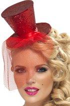 Mini hoge rode hoed voor dames - Verkleedhoofddeksel