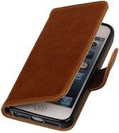 Bruin vintage lederlook bookcase voor de iPhone SE / 5 / 5s wallet hoesje