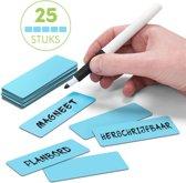 25 Whiteboard Magneten Balk 7,5 x 2,5 cm Blauw - Herschrijfbaar