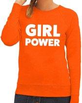 Girl Power tekst sweater oranje voor dames 2XL