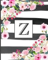 Z: Pretty Monogram Initial Letter Z Lined Notebook for Women or Girls to Write In - Black & White Stripes with Floral Des