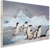 Pinguins springen uit het water Hout 30x20 cm - klein - Foto print op Hout (Wanddecoratie)