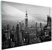 New York City zwart-wit  Glas 90x60 cm - Foto print op Glas (Plexiglas wanddecoratie)