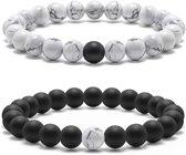Victorious - Set Armbanden - Witte Natuurstenen - Zwarte Natuurstenen - Vanaf 16cm
