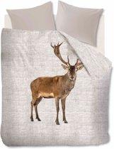 Ambiante Cute Deer - Flanel - Dekbedovertrek - Eenpersoons - 140x200/220 cm + 1 kussensloop 60x70 cm - Zand