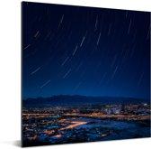 Luchtfoto van het Noord-Amerikaanse Tucson in de nacht Aluminium 50x50 cm - Foto print op Aluminium (metaal wanddecoratie)