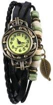Fako® - Armband Horloge - Blad - Zwart