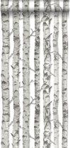 HD vliesbehang berken boomstammen licht warm grijs - 138889 ESTAhome.nl