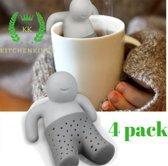 4x Hoge Kwaliteit KitchenKings Theemannetjes - Theefilter - Thee-eieren voor losse thee - 4 pack