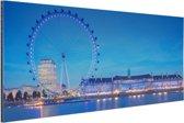 London Eye bij nacht Aluminium 90x60 cm - Foto print op Aluminium (metaal wanddecoratie)