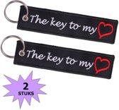 Fako Bijoux® - Sleutelhanger - The Key To My Heart - Zwart - 2 Stuks