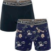 Muchachomalo Always connected Jongens boxershort - 2 pack - Print/Blauw - Maat 122/128