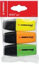 14x Stabilo Markeerstift Boss Mini etui van 3 stuks: geel, groen en oranje