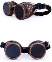 7aec2d2404d9da Steampunk goggles koper bril met donkere en heldere glazen van glas -  zonnebril koperen bruin festival