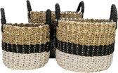 HSM Collection Mandenset Malibu - zwart/naturel/wit - raffia/zeegras - set van 3