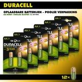 Duracell AA oplaadbare batterijen - Poolse verpakking - 1300 mAh -voordeelverpakking - 12 stuks