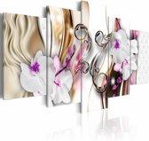 Schilderij - Orchids: pink flowers
