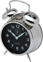 Mechanishe wekker van het merk Adora-Zilverkleurig met zwarte wijzerplaat-849