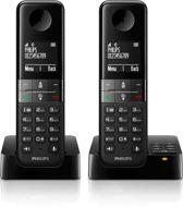 Philips D4552 - Duo DECT telefoon met antwoordapparaat - Zwart