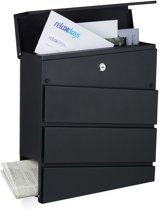 relaxdays brievenbus modern design, met krantenrol, mat staal, 2 sleutels, post zwart