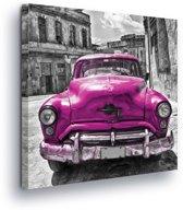 Purple Car Vintage Canvas Print 80cm x 80cm