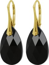 Zilveren Goudkleurige Oorbellen met Swarovski Elements Jet Black 22MM