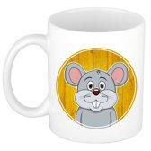 1x Muis beker / mok - 300 ml keramiek - muizen dieren beker voor kinderen