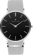 Wallace Hume Zwart - Horloge - Perlon - Grijs
