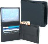 Zwarte Portemonnee - Leer - Flapje omhoog - 8 Pasjes - RFID