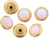 6 ronde gouden schroefjes met een paarlemoer kleurig steentjes erop.