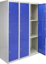 3x Lockers – Lockerkast metaal – locker kledingkast – Blauw - 3 Deurs – lockerkastje - Flatpack