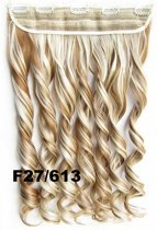 Clip in hair extensions 1 baan wavy blond - F27/613