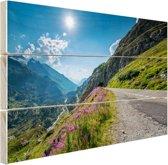 Weg naar de Sustenpass in Zwitserland Hout 30x20 cm - klein - Foto print op Hout (Wanddecoratie)