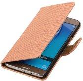 Slang Bookstyle Hoesje voor Samsung Galaxy J7 (2016) Licht Roze