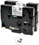 Compatibel voor Brother TZe-231 TZ 231 Zwart op wit labelprinter-tape 12mm x 8m voor P-Touch PT-1200, 2-Pack