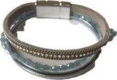Petra's Sieradenwereld - Leren armband lichtblauw met magneetsluiting (1004)
