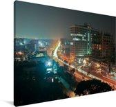 Mooie verlichting in Dhaka in de nacht Canvas 30x20 cm - klein - Foto print op Canvas schilderij (Wanddecoratie woonkamer / slaapkamer) / Aziatische steden Canvas Schilderijen
