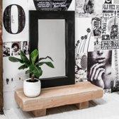 Spiegel Zwart Houten Lijst  90 x 70   Houten Handgemaakte Spiegel met Ophangsysteem