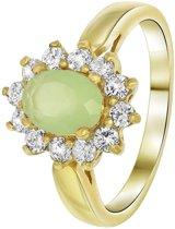 Nouveau Vintage - Goldplated ring milky green met zirkonia