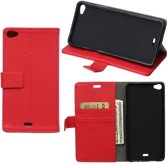 Litchi Cover wallet case hoesje Wiko Highway Pure 4G rood