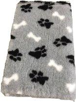 Vet bed - Grijs + zwarte pootjes witte botjes - latex anti-slip 75x50 cm