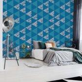 Fotobehang Modern Geometric Triangle Pattern Blue   V8 - 368cm x 254cm   130gr/m2 Vlies