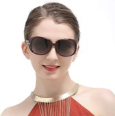 DUCO Klassieke Dames Zonnebril Wijnrood - Gepolariseerd 100% UV-bescherming 6214 - incl. Hardcase, schroevendraaiertje en opbergzakje