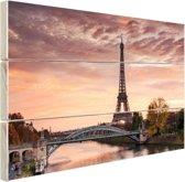 FotoCadeau.nl - De ochtendschemering over Parijs Hout 80x60 cm - Foto print op Hout (Wanddecoratie)